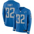 Cheap Nike Lions #32 D'Andre Swift Blue Team Color Youth Stitched NFL Limited Therma Long Sleeve Jersey