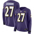 Cheap Nike Ravens #27 J.K. Dobbins Purple Team Color Women's Stitched NFL Limited Therma Long Sleeve Jersey