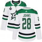 Cheap Adidas Stars #28 Stephen Johns White Road Authentic Women's 2020 Stanley Cup Final Stitched NHL Jersey