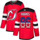 Cheap Adidas Devils #86 Jack Hughes Red Home Authentic USA Flag Stitched NHL Jersey
