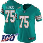 Cheap Nike Dolphins #75 Ereck Flowers Aqua Green Alternate Women's Stitched NFL 100th Season Vapor Untouchable Limited Jersey
