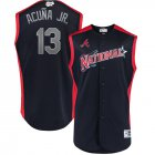 Cheap National League #13 Ronald Acuna Jr. Majestic 2019 MLB All-Star Game Workout Player Jersey Navy