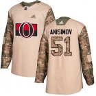 Cheap Adidas Senators #51 Artem Anisimov Camo Authentic 2017 Veterans Day Stitched Youth NHL Jersey