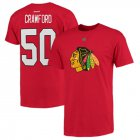 Cheap Chicago Blackhawks #50 Corey Crawford Reebok Name and Number Player T-Shirt Red