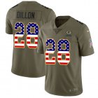 Cheap Nike Packers #28 AJ Dillon Olive/USA Flag Youth Stitched NFL Limited 2017 Salute To Service Jersey