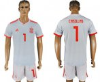 Cheap Spain #1 Casillas Away Soccer Country Jersey