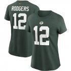 Cheap Green Bay Packers #12 Aaron Rodgers Nike Women's Team Player Name & Number T-Shirt Green