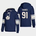 Cheap Toronto Maple Leafs #91 John Tavares Blue adidas Lace-Up Pullover Hoodie