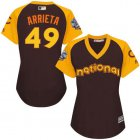 Cheap Cubs #49 Jake Arrieta Brown 2016 All-Star National League Women's Stitched MLB Jersey