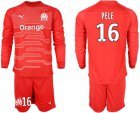 Cheap Marseille #16 Pele Red Goalkeeper Long Sleeves Soccer Club Jersey