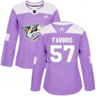 Cheap Adidas Predators #57 Dante Fabbro Purple Authentic Fights Cancer Women's Stitched NHL Jersey