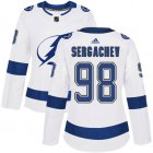 Cheap Adidas Lightning #98 Mikhail Sergachev White Road Authentic Women's Stitched NHL Jersey