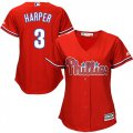 Cheap Phillies #3 Bryce Harper Red Alternate Women's Stitched MLB Jersey