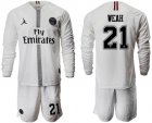 Cheap Paris Saint-Germain #21 Weah White Jordan Long Sleeves Soccer Club Jersey