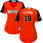 Cheap Rockies #19 Charlie Blackmon Orange 2017 All-Star National League Women's Stitched MLB Jersey