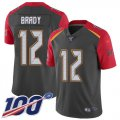 Cheap Nike Buccaneers #12 Tom Brady Gray Men's Stitched NFL Limited Inverted Legend 100th Season Jersey