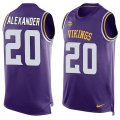Cheap Nike Vikings #20 Mackensie Alexander Purple Team Color Men's Stitched NFL Limited Tank Top Jersey