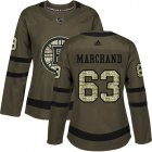 Cheap Adidas Bruins #63 Brad Marchand Green Salute to Service Women's Stitched NHL Jersey