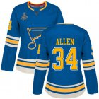 Cheap Adidas Blues #34 Jake Allen Blue Alternate Authentic Stanley Cup Champions Women's Stitched NHL Jersey