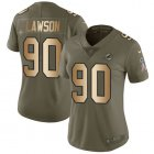 Cheap Nike Dolphins #90 Shaq Lawson Olive/Gold Women's Stitched NFL Limited 2017 Salute To Service Jersey