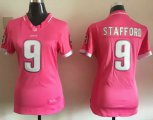 Cheap Nike Lions #9 Matthew Stafford Pink Women's Stitched NFL Elite Bubble Gum Jersey