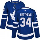 Cheap Adidas Maple Leafs #34 Auston Matthews Blue Home Authentic Women's Stitched NHL Jersey