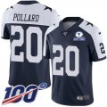 Cheap Nike Cowboys #20 Tony Pollard Navy Blue Thanksgiving Men's Stitched With Established In 1960 Patch NFL 100th Season Vapor Untouchable Limited Throwback Jersey