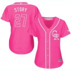 Cheap Rockies #27 Trevor Story Pink Fashion Women's Stitched MLB Jersey