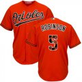 Cheap Orioles #5 Brooks Robinson Orange Team Logo Fashion Stitched MLB Jersey