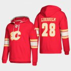 Cheap Calgary Flames #28 Elias Lindholm Red adidas Lace-Up Pullover Hoodie