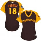 Cheap Cubs #18 Ben Zobrist Brown 2016 All-Star National League Women's Stitched MLB Jersey