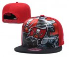 Cheap Buccaneers Team Logo Red Black Adjustable Leather Hat TX