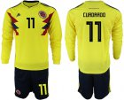 Cheap Colombia #11 Cuadrado Home Long Sleeves Soccer Country Jersey