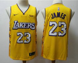 Cheap Men\'s Los Angeles Lakers #23 LeBron James Yellow 2020 Nike City Edition Swingman Jersey With The Sponsor Logo