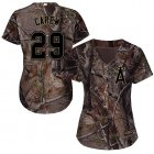 Cheap Angels #29 Rod Carew Camo Realtree Collection Cool Base Women's Stitched MLB Jersey