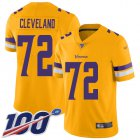 Cheap Nike Vikings #72 Ezra Cleveland Gold Men's Stitched NFL Limited Inverted Legend 100th Season Jersey