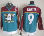 Cheap Ducks #9 Paul Kariya Red/Turquoise CCM Throwback Stitched NHL Jersey