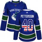 Cheap Adidas Canucks #40 Elias Pettersson Blue Home Authentic USA Flag Women's Stitched NHL Jersey