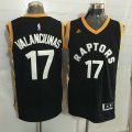 Cheap Men's Toronto Raptors #17 Jonas Valanciunas Black With Gold New NBA Rev 30 Swingman Jersey