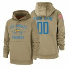 Cheap Los Angeles Chargers Custom Nike Tan 2019 Salute To Service Name & Number Sideline Therma Pullover Hoodie