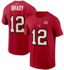 Cheap Men's Tampa Bay Buccaneers Tom Brady Nike Red Super Bowl LV Champions Name & Number T-Shirt