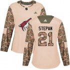 Cheap Adidas Coyotes #21 Derek Stepan Camo Authentic 2017 Veterans Day Women's Stitched NHL Jersey