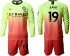 Cheap Manchester City #19 Sane Third Long Sleeves Soccer Club Jersey
