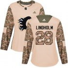 Cheap Adidas Flames #28 Elias Lindholm Camo Authentic 2017 Veterans Day Women's Stitched NHL Jersey
