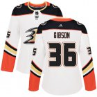 Cheap Adidas Ducks #36 John Gibson White Road Authentic Women's Stitched NHL Jersey