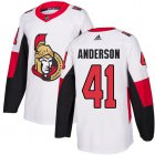 Cheap Adidas Senators #41 Craig Anderson White Road Authentic Stitched Youth NHL Jersey