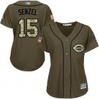 Cheap Reds #15 Nick Senzel Green Salute to Service Women's Stitched MLB Jersey