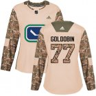 Cheap Adidas Canucks #77 Nikolay Goldobin Camo Authentic 2017 Veterans Day Women's Stitched NHL Jersey