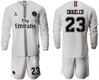 Cheap Paris Saint-Germain #23 Draxler White Jordan Long Sleeves Soccer Club Jersey