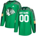 Cheap Men's Adidas Chicago Blackhawks Personalized Green St. Patrick's Day Custom Practice NHL Jersey